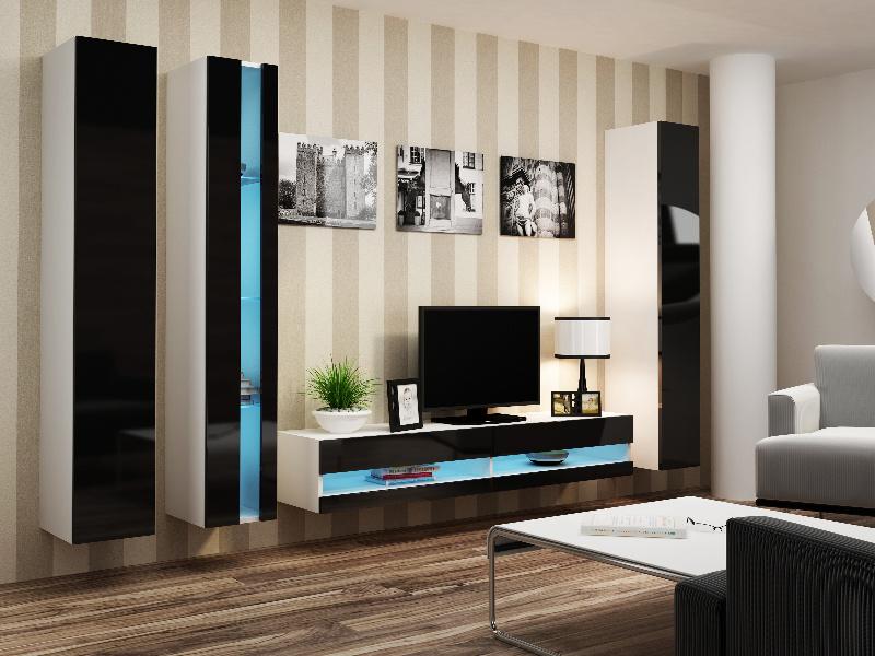 CAMA Obývací stěna VIGO NEW 7, bílá/černý lesk