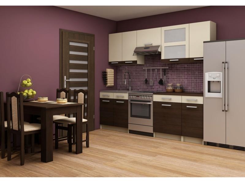 MORAVIA FLAT Kuchyně POLO 180/240, vzorová sestava 1, wenge/krémová