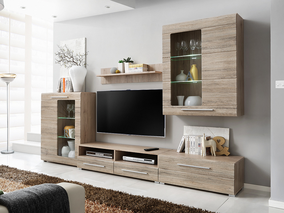 Smartshop Timber 4, obývací stěna, dub san remo