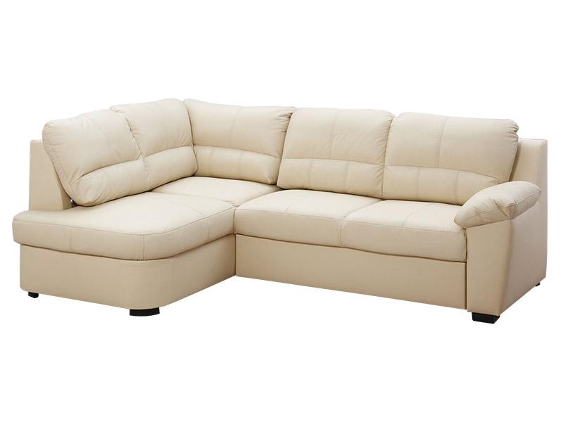 Aspol Kožená rohová sedačka AROSA, krémová, levá