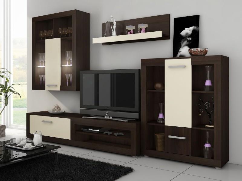 MORAVIA FLAT VIKY, obývací stěna, wenge/krém