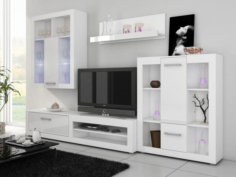MORAVIA FLAT VIKY, obývací stěna, bílá/bílý lesk