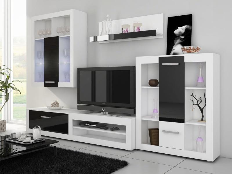 MORAVIA FLAT VIKY, obývací stěna, bílá/černý lesk