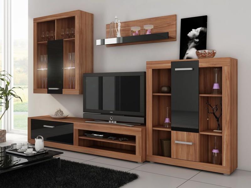 MORAVIA FLAT VIKY, obývací stěna, švestka wallis/černý lesk