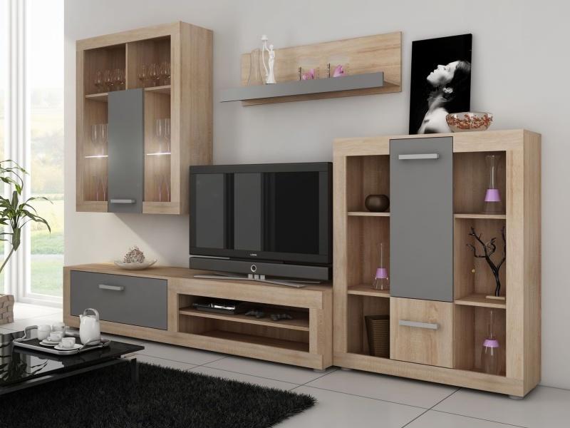 MORAVIA FLAT VIKY, obývací stěna, dub sonoma/grafit