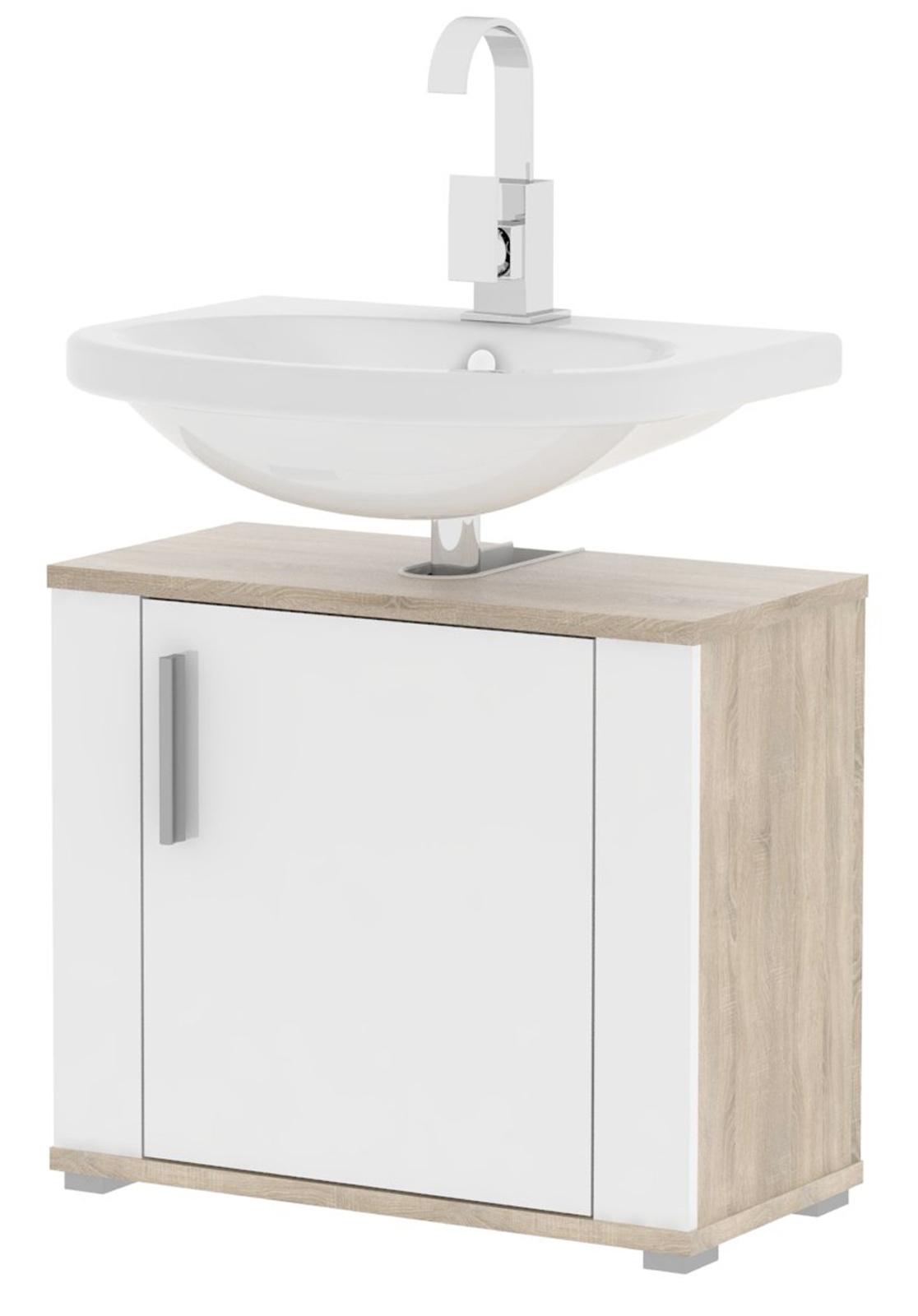 MB DOMUS Koupelnová umyvadlová skříňka LI02 - bez umyvadla MB.LI02 (sonoma světlá/bílá lesklá)