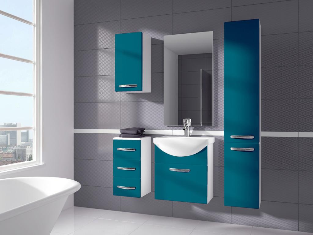Stolkar KORAL, koupelnová sestava BEZ UMYVADLA, modrá DOPRODEJ