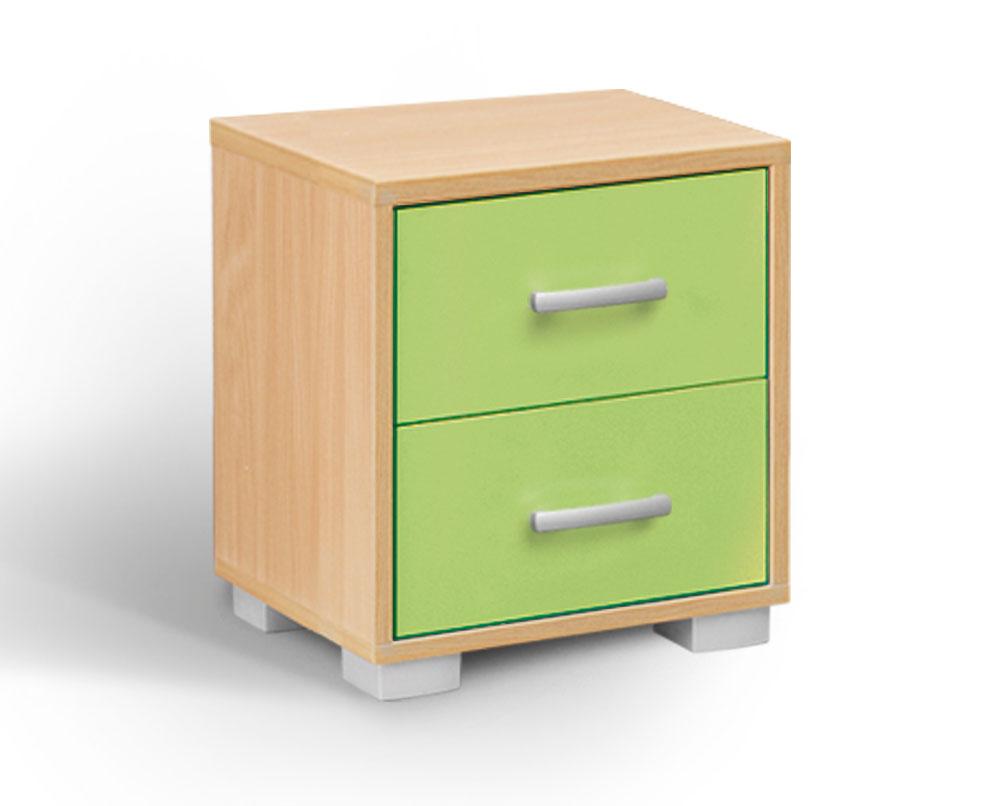 MATIS BAMBI, noční stolek, buk/zelená