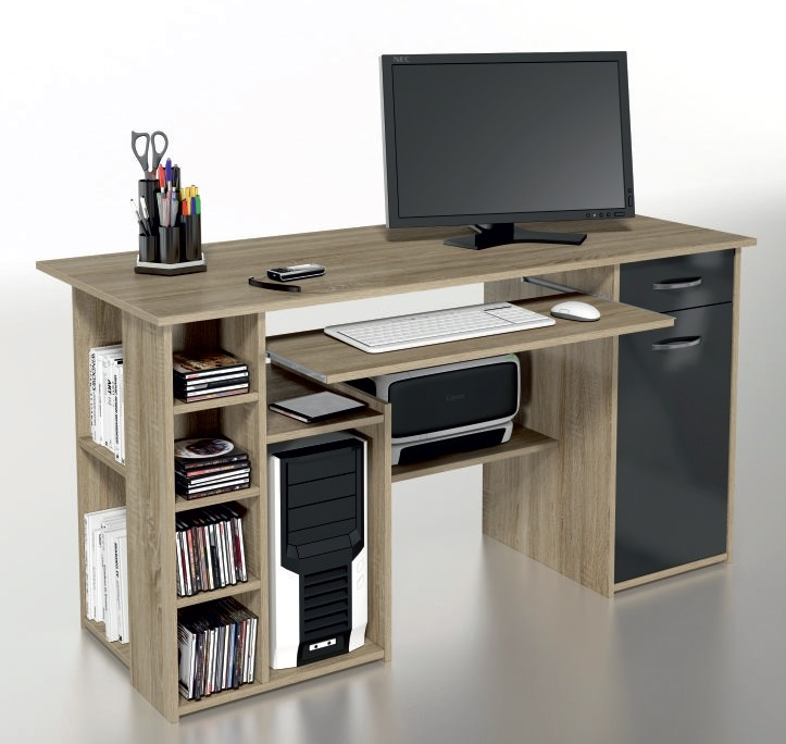 ORFA MIX Multifunkční PC stůl MICRO M15, dub sonoma/černá