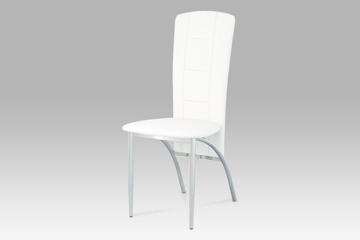 Autronic Jídelní židle, chrom/koženka bílá AC-1019 WT