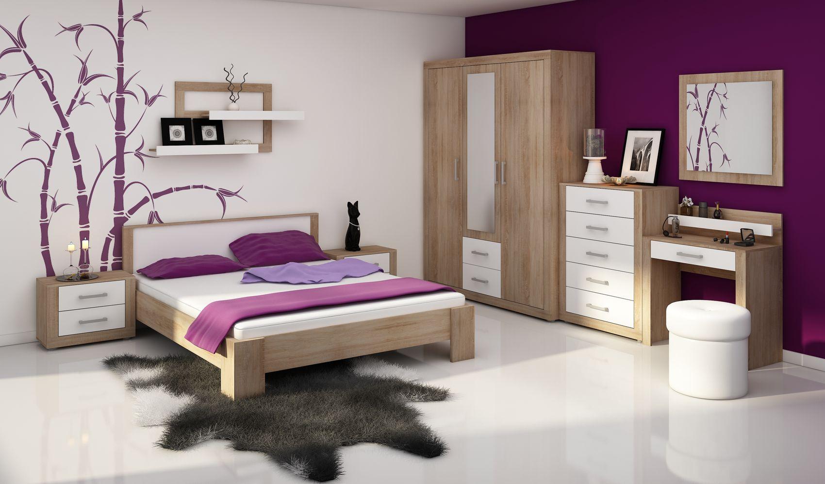 MORAVIA FLAT VIKY, ložnice, dub sonoma/bílý lesk