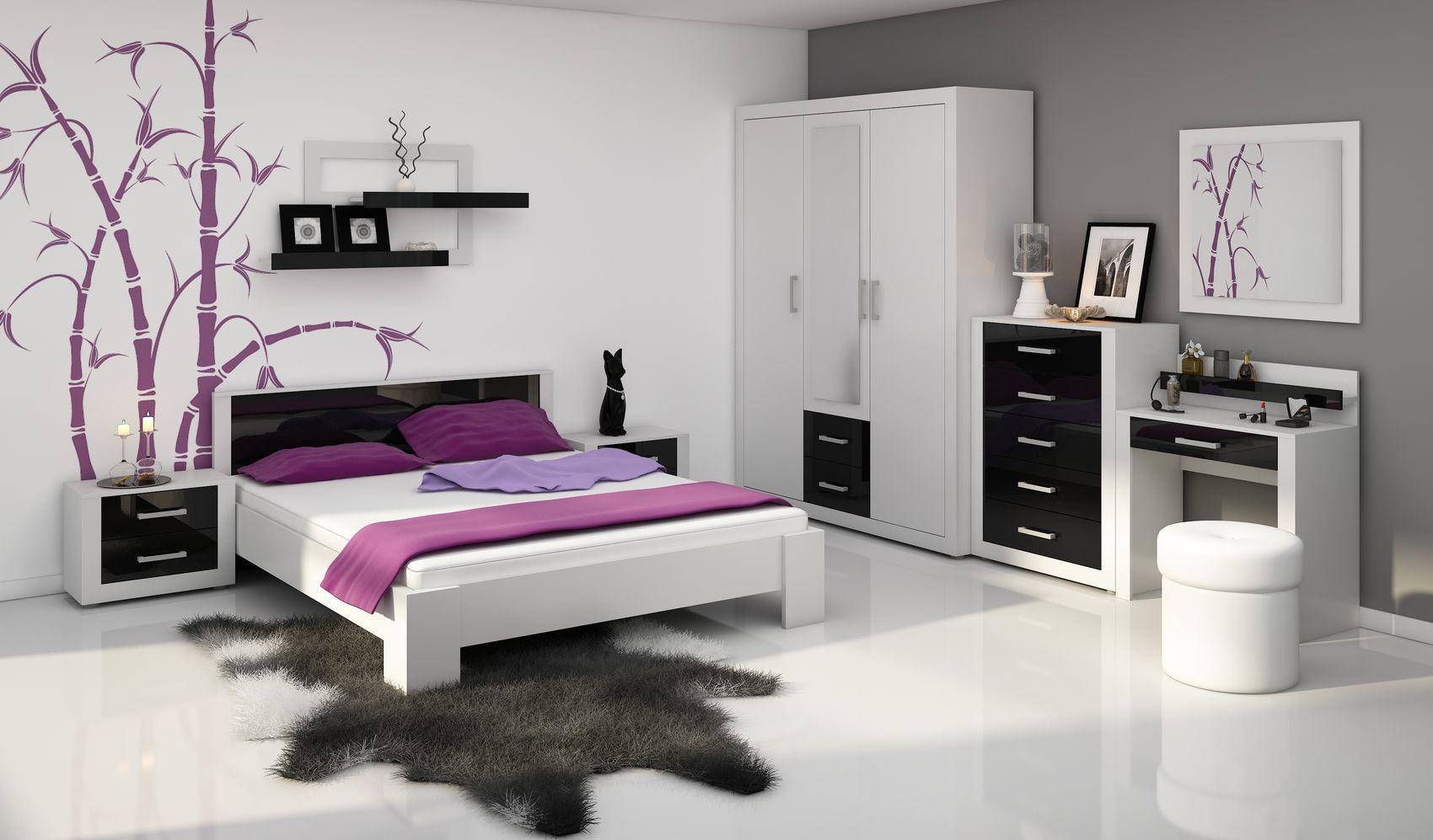 MORAVIA FLAT VIKY, ložnice, bílá/černý lesk