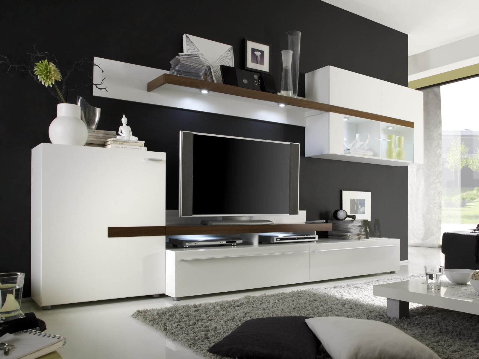 Idea Obývací stěna PIANO P295565, bílá/ořech