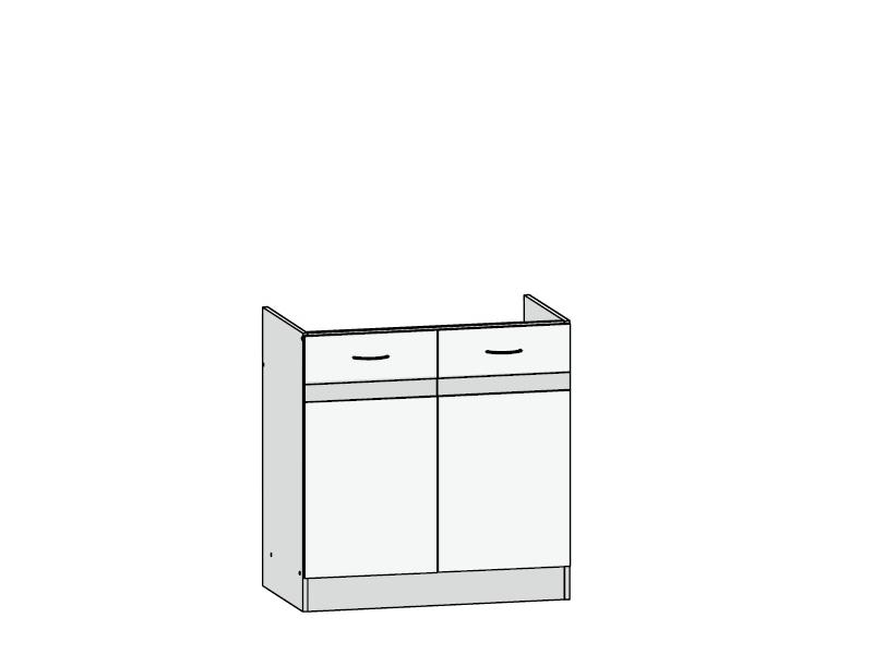 Black Red White JUNONA LINE, skříňka pod dřez 80 cm, wolfram šedý