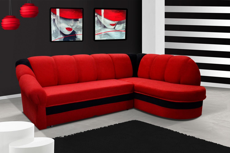 ELTAP Rohová sedačka BENANO, pravá, červená/černá