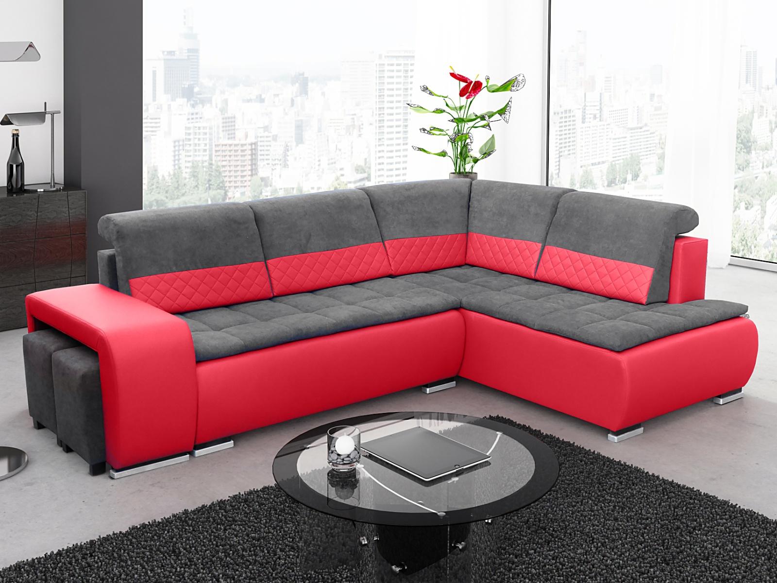 Smartshop Rohová sedačka GRANDER PLUS 1, pravá, červená/šedá