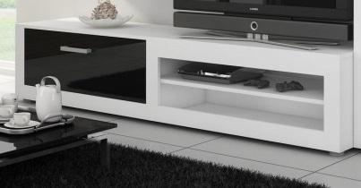 MORAVIA FLAT VIKY, televizní stolek, bílá/černý lesk