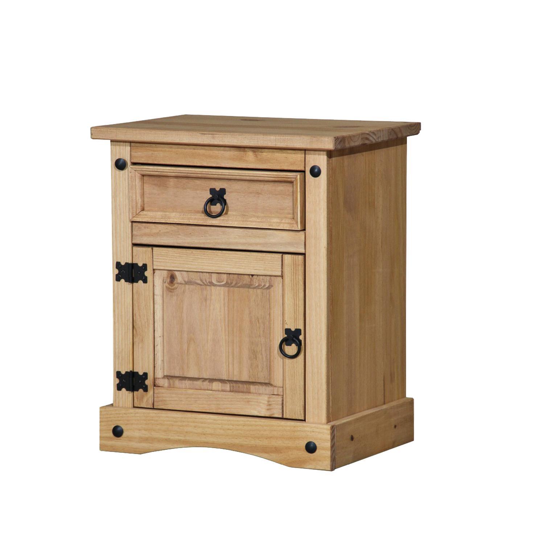Idea Noční stolek CORONA, masiv borovice, vosk