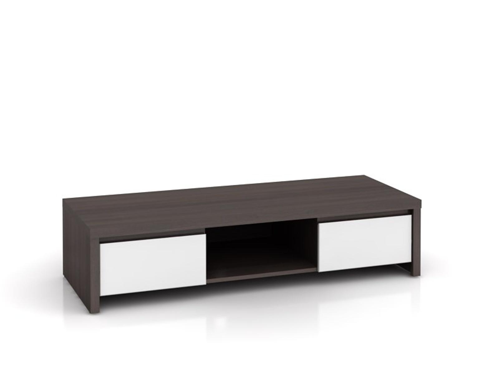 Black Red White KASPIAN, televizní stolek RTV2S, bílý vysoký lesk