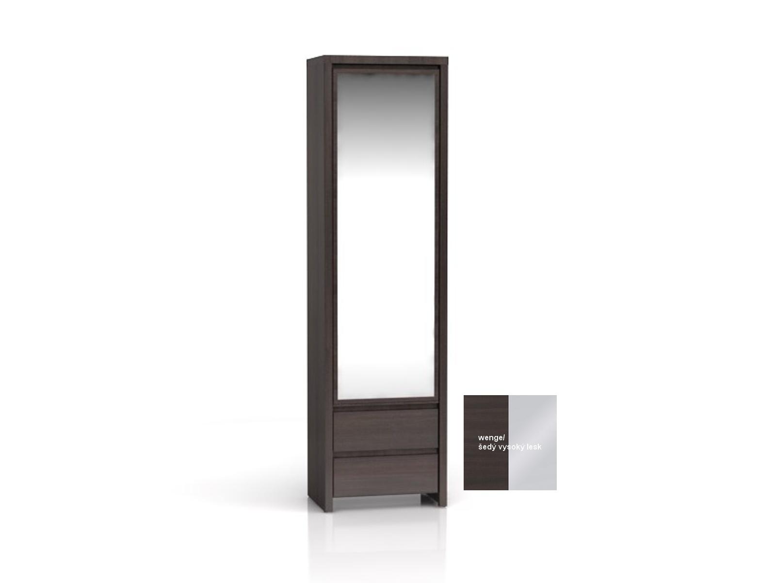 BRW KASPIAN, skříň zrcadlová SZF1D2SP, šedý vysoký lesk