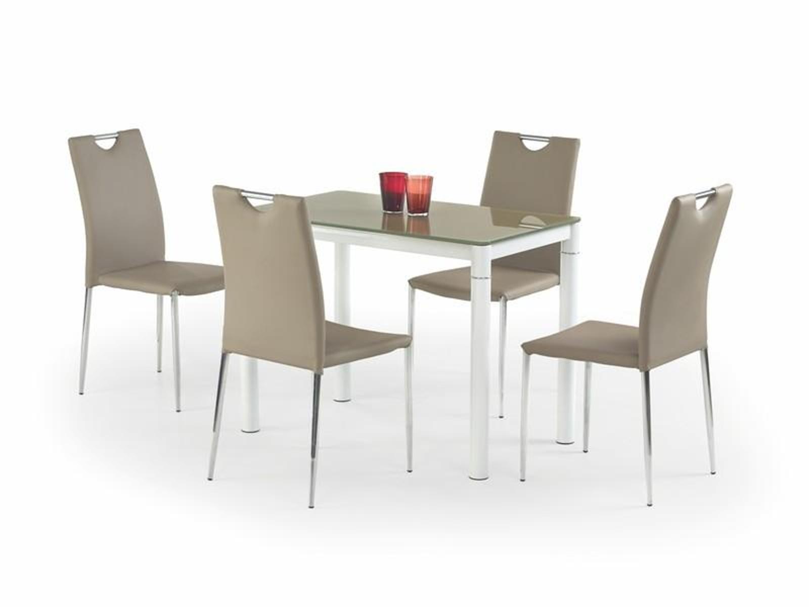 Halmar Jídelní stůl ARGUS, béžová/bílá, kov/sklo