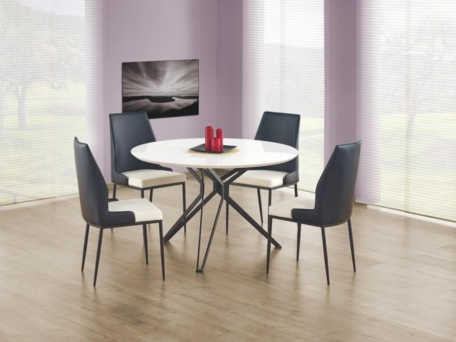 Halmar Kulatý jídelní stůl PIXEL, bílá/černá