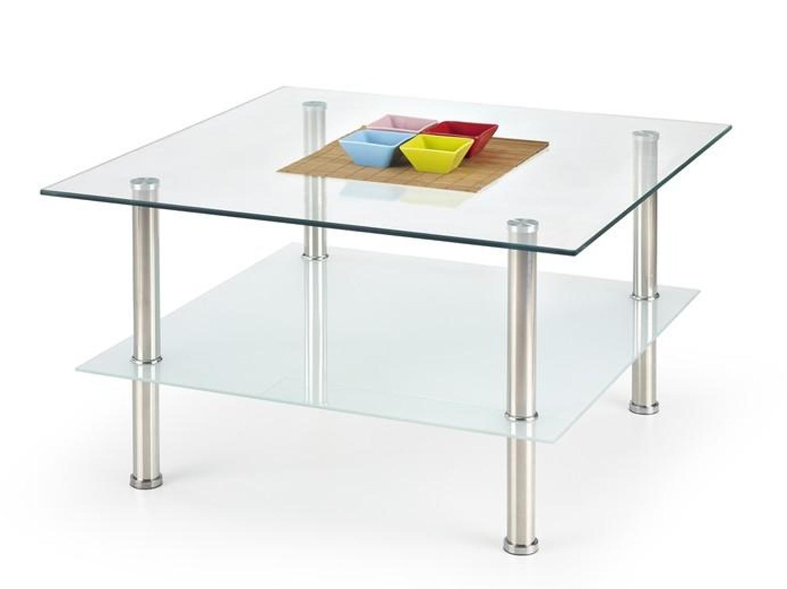 Halmar Konferenční stolek TESLA, kov/sklo