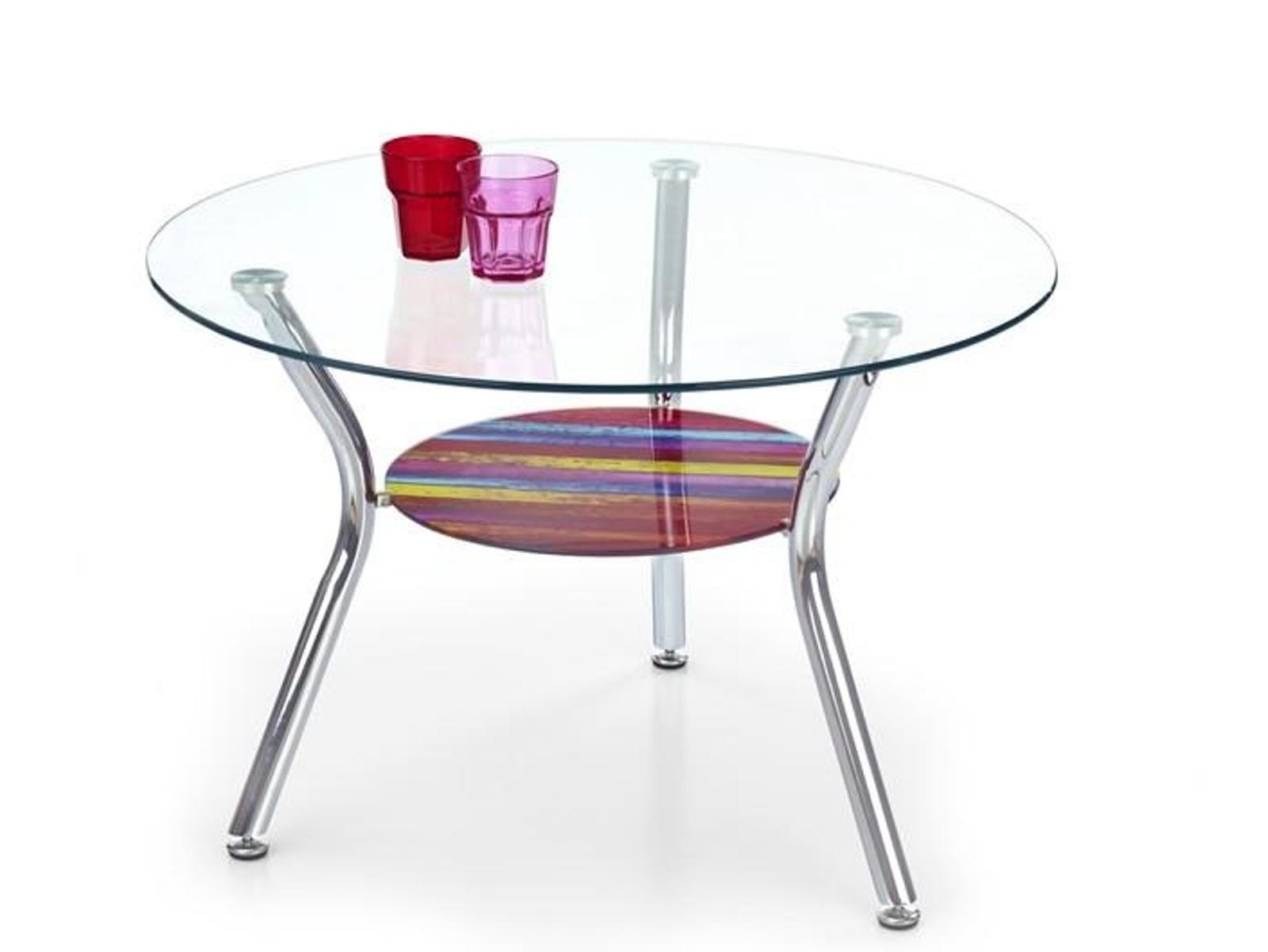 Halmar Konferenční stolek BECKY, kov/barevné sklo