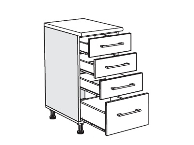 MATIS IN MDF, dolní skříňka D40 F, ořech, prac. deska: