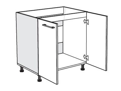MATIS IN MDF, dolní skříňka dřezová D80 S, černé dřevo lesk