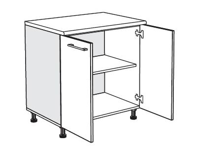 MATIS IN MDF, dolní skříňka D80, bílý lesk, prac. deska: