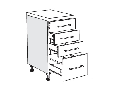 MATIS IN MDF, dolní skříňka D40 F PL-BOX, bílý lesk, prac. deska: