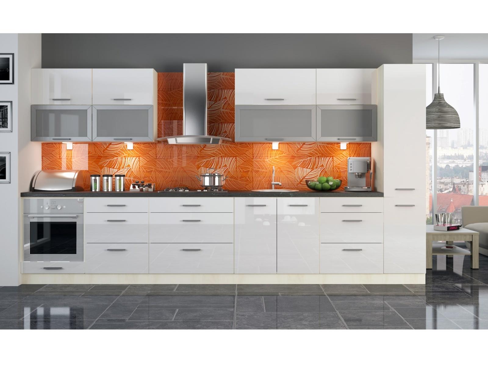 Extom Kuchyně PLATINUM 300/380 cm, VZOROVÁ SESTAVA, white