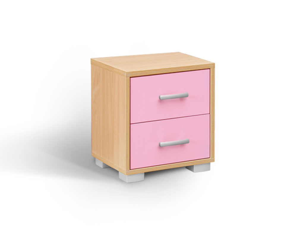 MATIS BAMBI, noční stolek, buk/růžová
