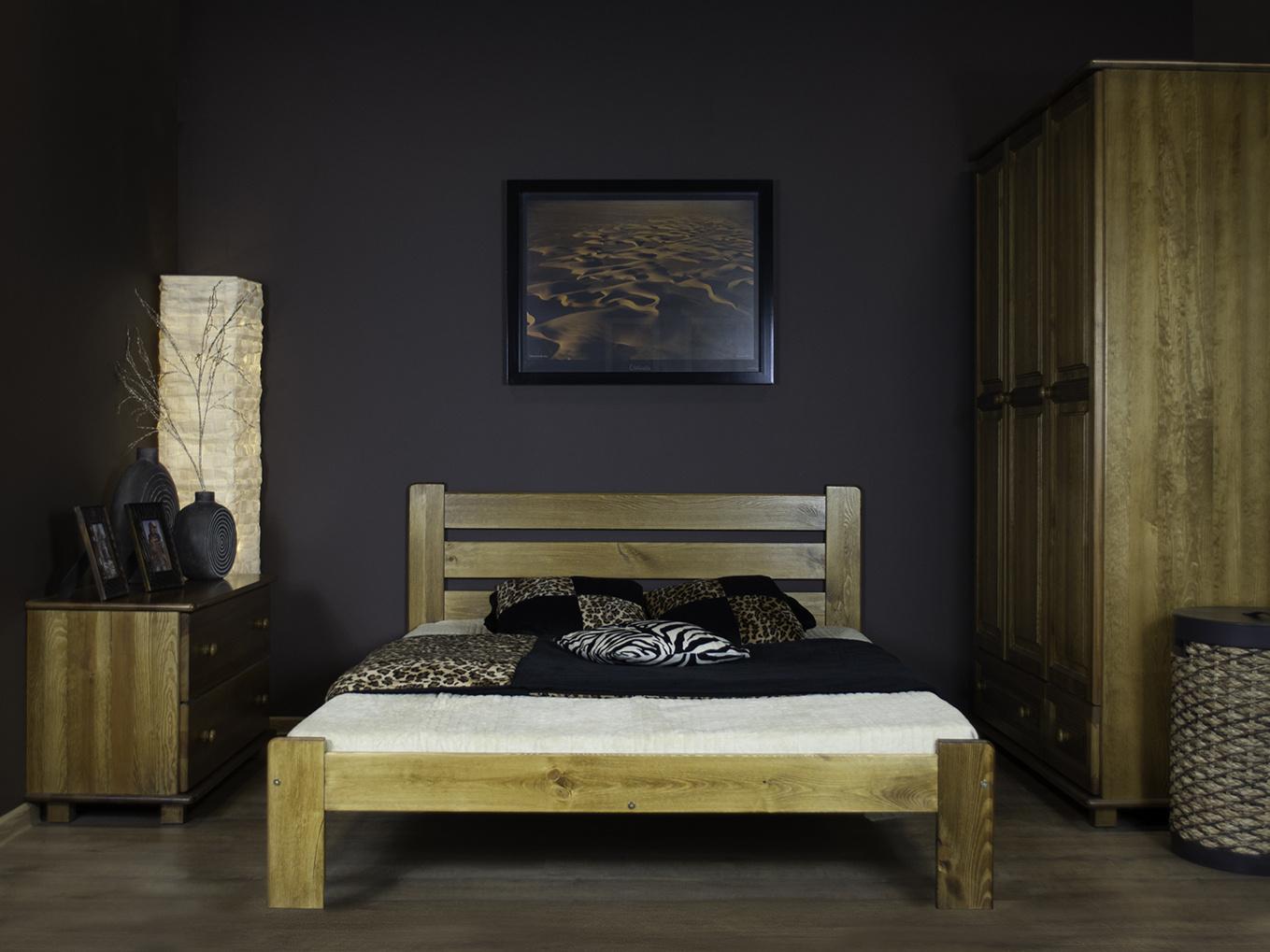 MAGNAT Postel ELIZA 120x200 cm s roštem, masiv borovice/moření dub