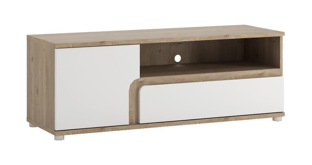Extom MILANO, RTV stolek typ 51, dub nelson/bílý lesk