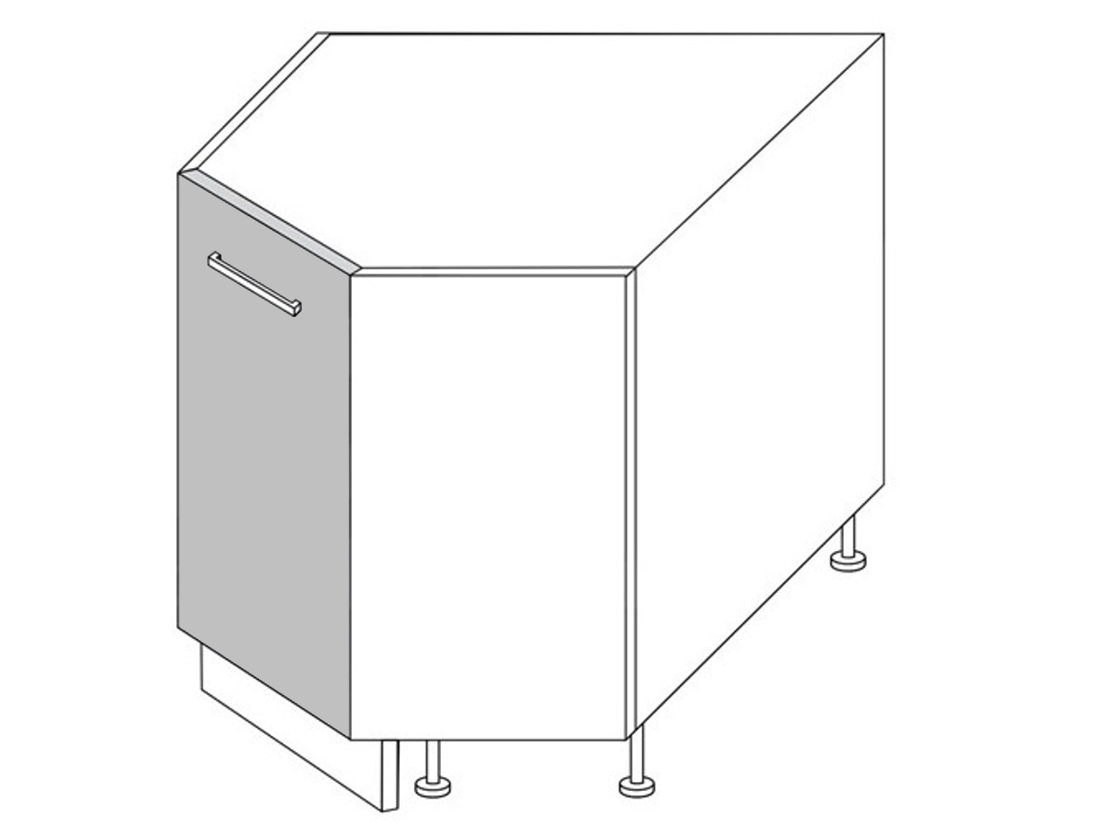 Extom QUANTUM, skříňka dolní rohová D12R 90, vanilla mat/grey