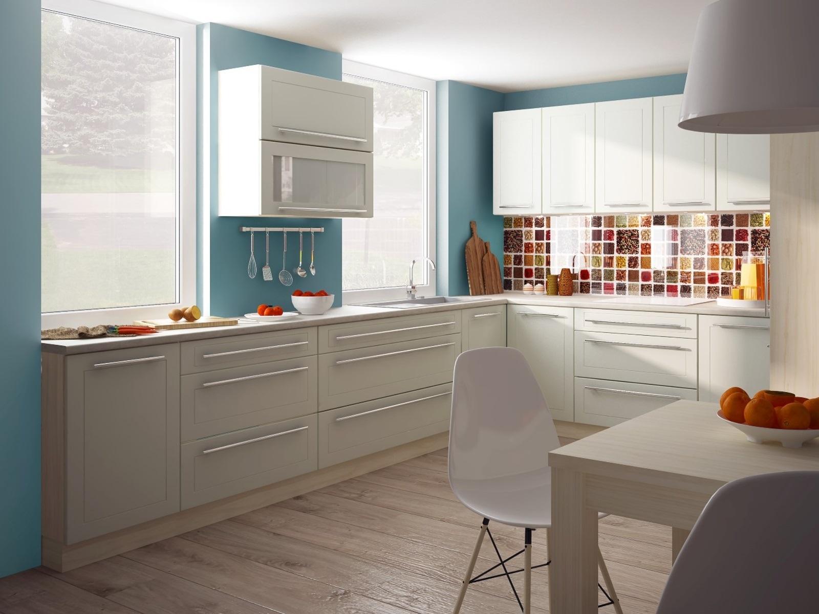 Extom Rohová kuchyně QUANTUM, vzorová sestava, vanilla mat/jersey
