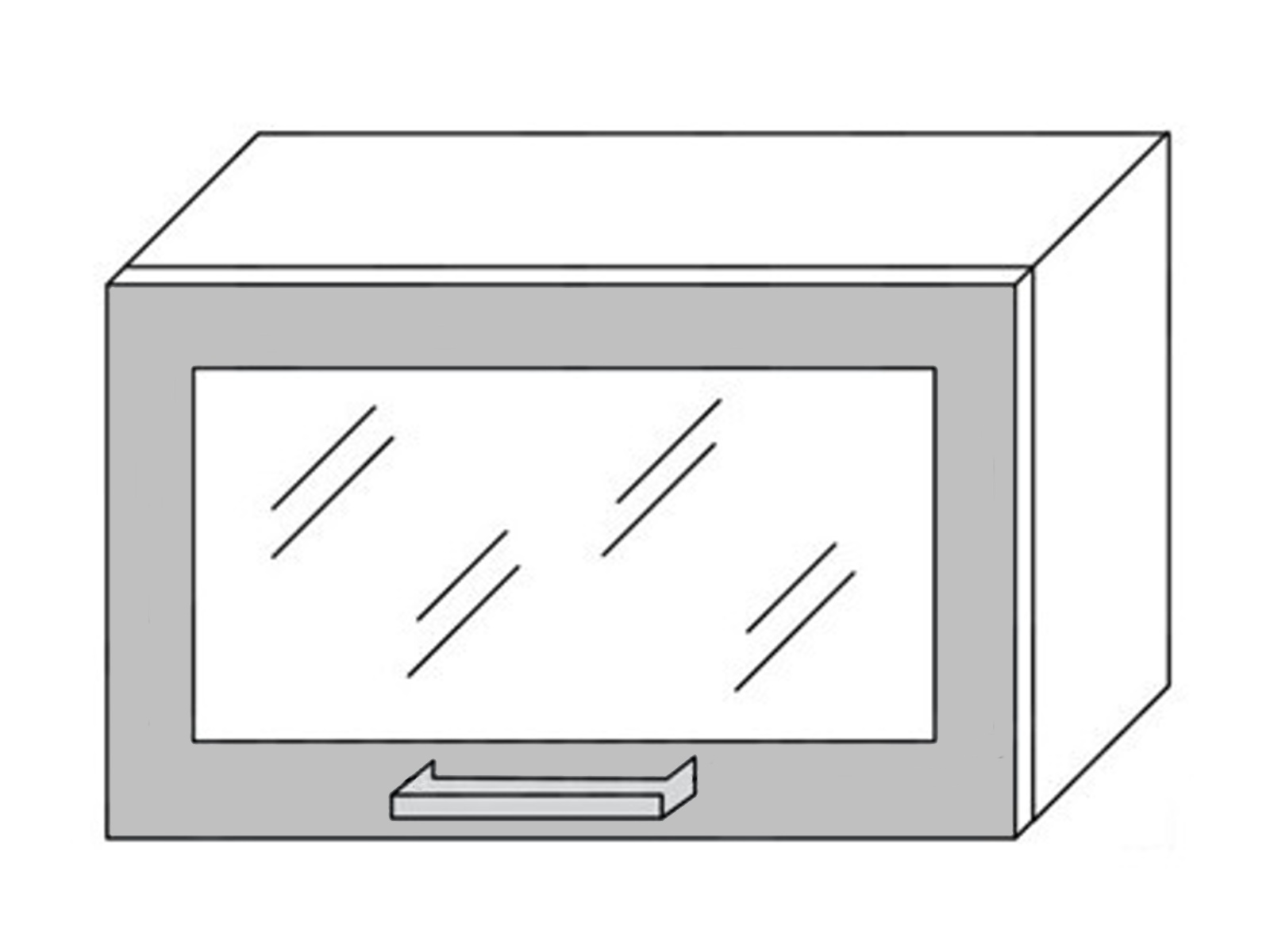 Extom TITANIUM, skříňka horní prosklená W4bs 60 ALU, korpus: jersey