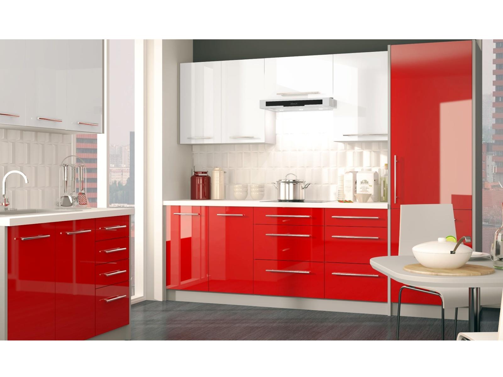 Extom Rohová kuchyně PLATINUM 370 cm, VZOROVÁ SESTAVA, white+rose red
