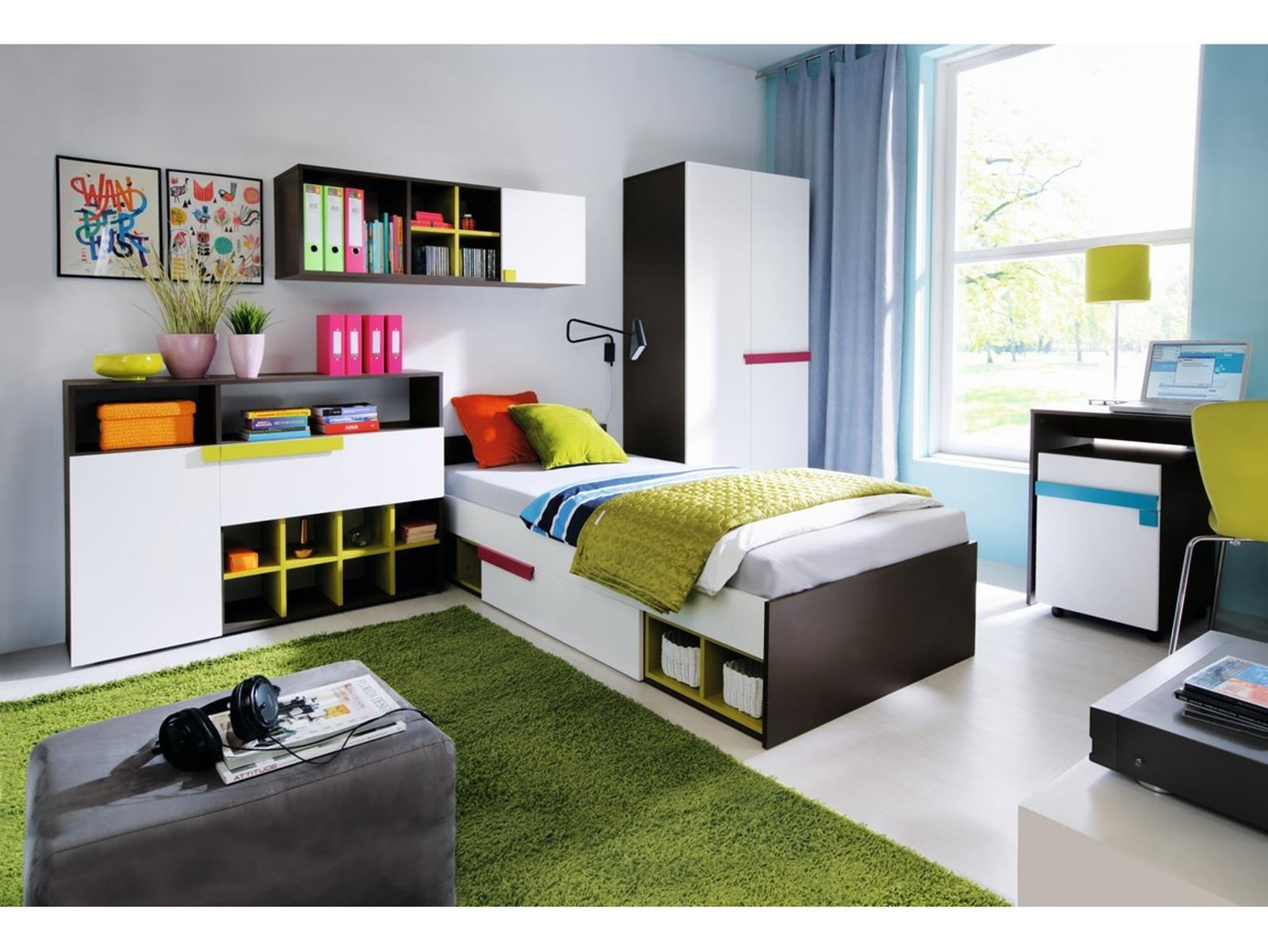 Smartshop Dětský pokoj LOBO, vzorová sestava 2, šedý grafit/bílá+fialová a iguara