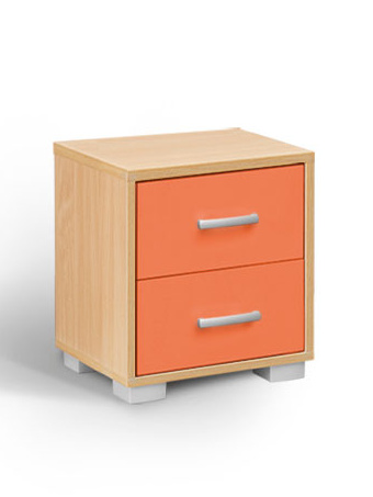 MATIS BAMBI, noční stolek, buk/oranžová