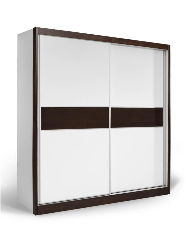 MATIS Skříň s posuvnými dveřmi APM 200, bílá/wenge