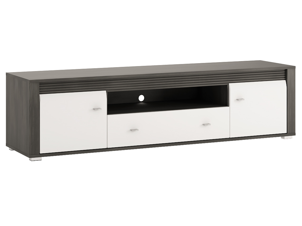 Extom SEVILLA, RTV stolek 2D1S, norská borovice černá/bílý lesk