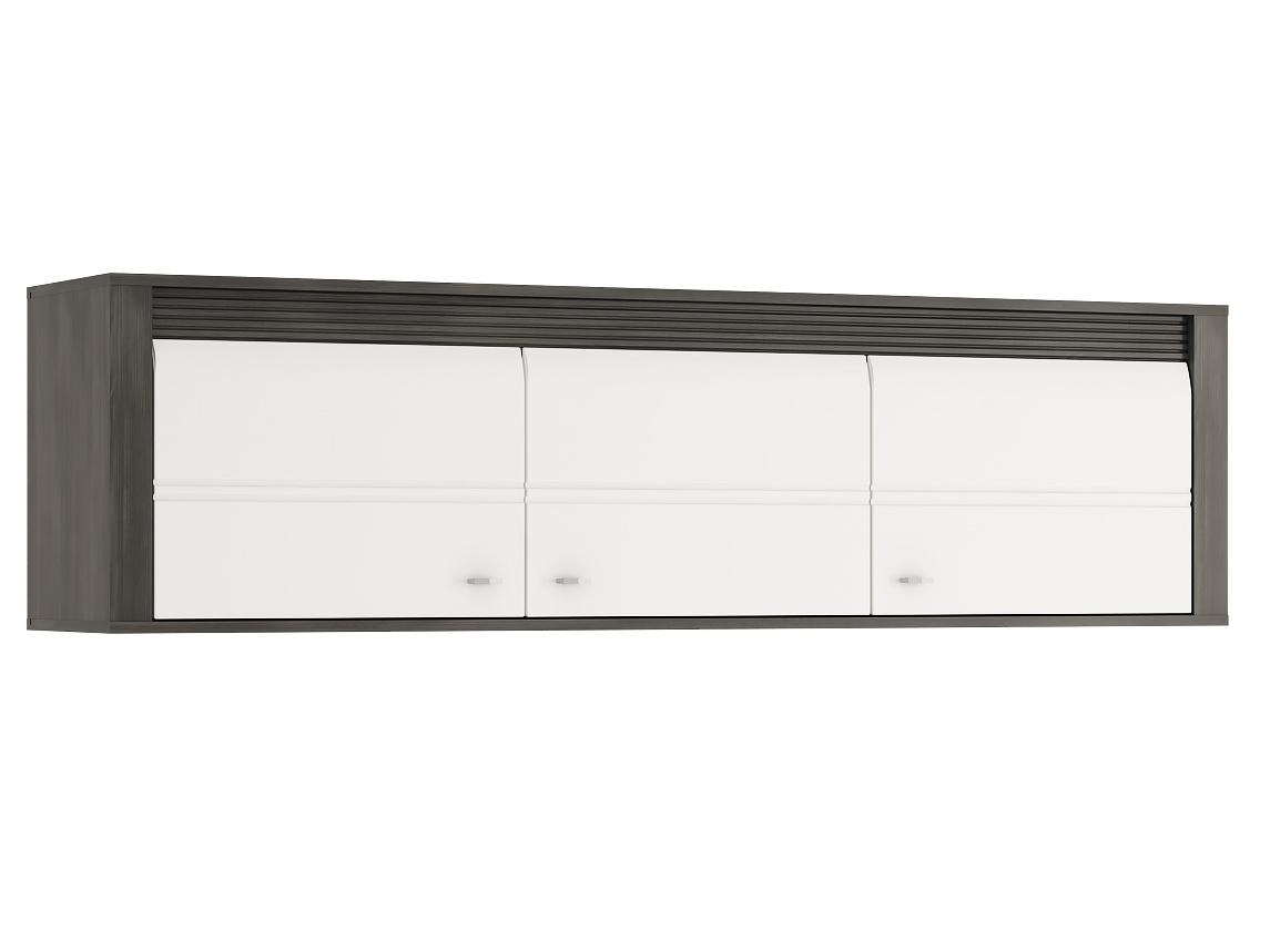 Extom SEVILLA, závěsná skříňka 3D, norská borovice černá/bílý lesk