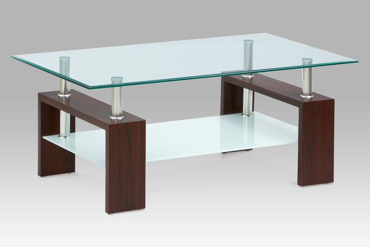 Autronic Konferenční stůl, ořech/sklo čiré, mléčná polička, AF-2024 WAL