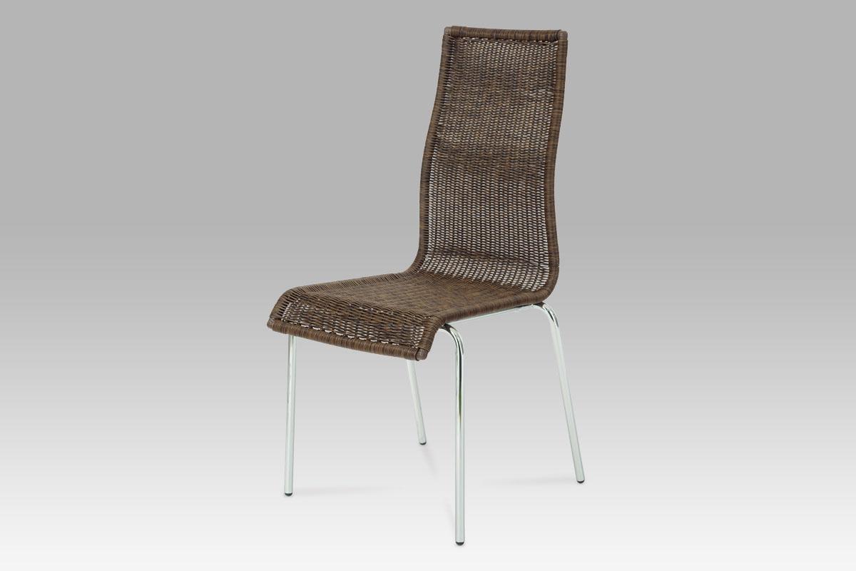 Autronic Jídelní židle chrom / UMĚLÝ ratan tmavě hnědý, SF-824 WAL