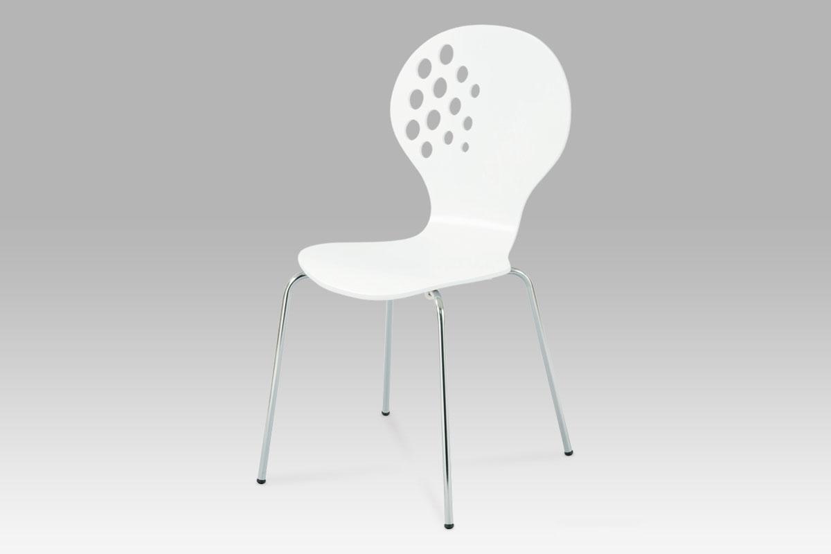 Autronic Jídelní židle, bílá / chrom, C-500 WT