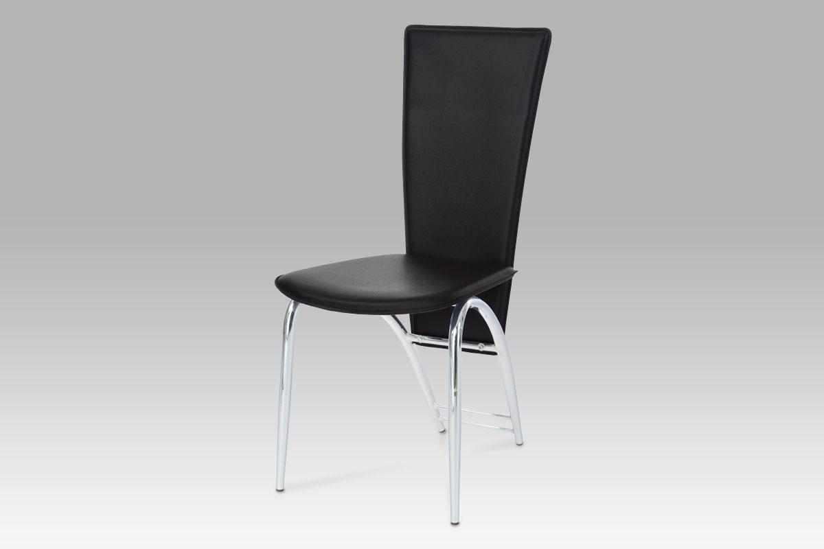 Autronic Jídelní židle chrom/koženka černá, AC-1158 BK