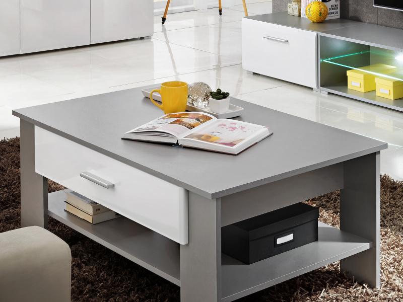 Smartshop Konferenční stolek BLADE 2, titan/bílý lesk